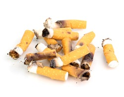Cigarette butts isolateed on white