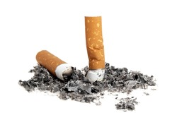 Cigarette butts with ash isolated on white background