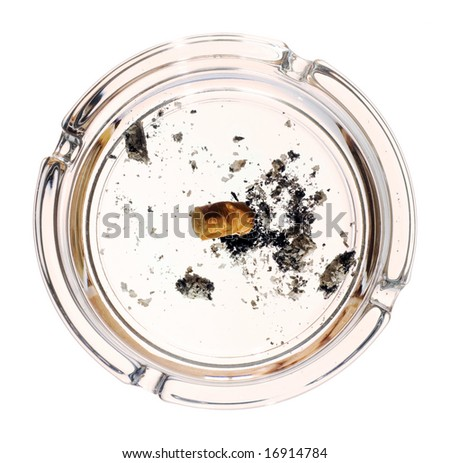 Cigarette in ashtray isolated on white