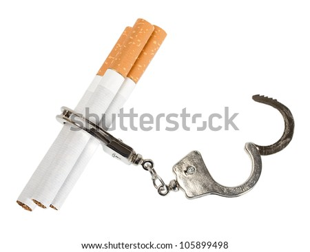 Cigarette isolated on white background . Smoking manacles dependency