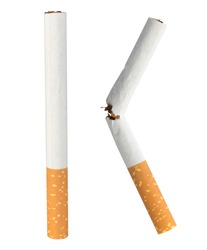 Cigarette single isolated on white background.