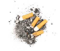 Cigarette stubs and ash isolated on white background, top view