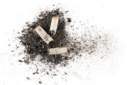 Cigarette stubs, butts and ash isolated on white background, top view and clipping path