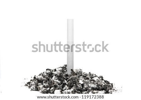 Cigarette stuck in a pile of ash on a white background.