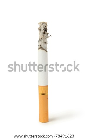cigarette with ashes isolated on a white background