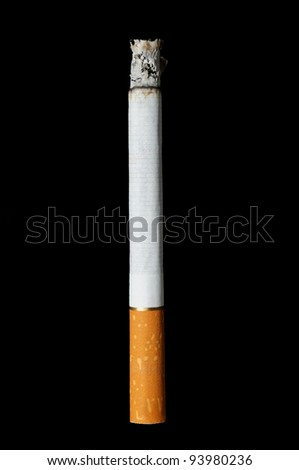 cigarette with ashes isolated on black background