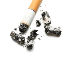 Cigarette with ashes on white background, closeup
