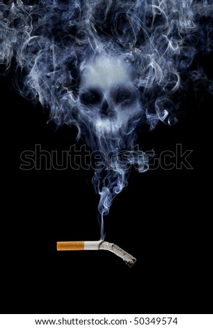 Cigarette with deadly smoke - stock photo