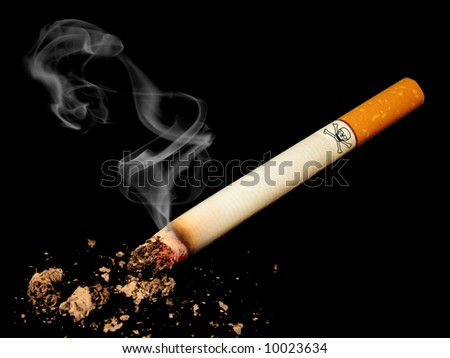 Cigarette with skull on black background