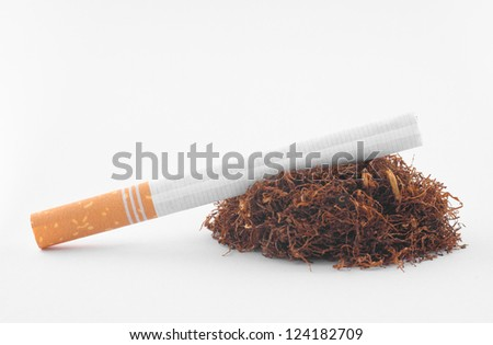 cigarette with tobacco on white background