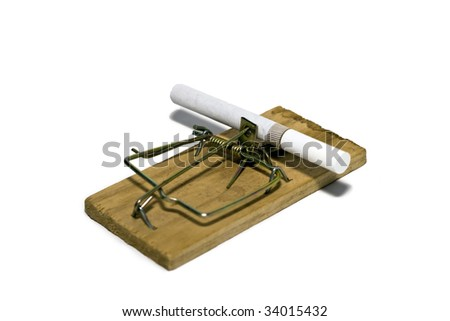 Cigarettes and mousetrap isolated on white background.