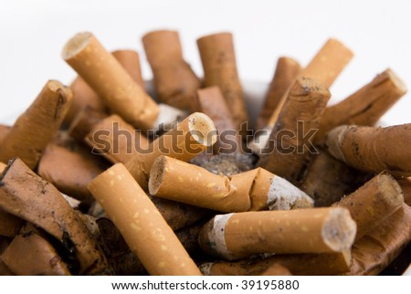Cigarettes butt in an ashtray