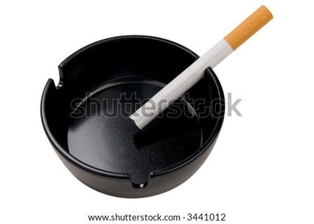 cigarettes in a black ashtray isolated over a white background