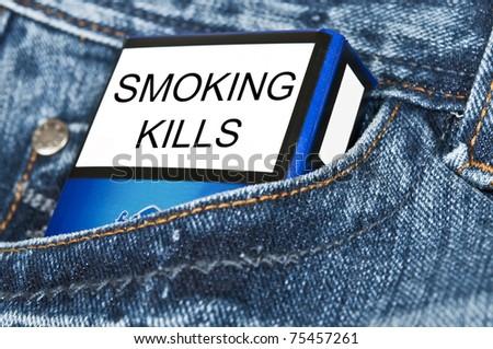 Cigarettes in blue jeans pocket