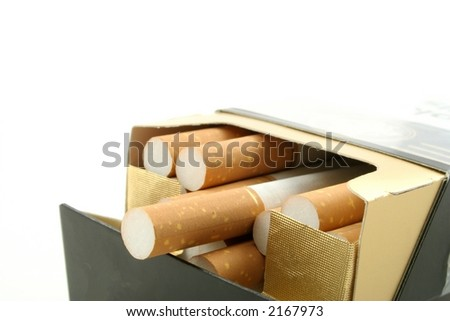 Cigarettes in packet against a white background