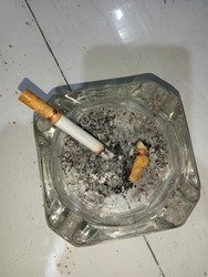 Cigarettes on the ashtray with their ashes