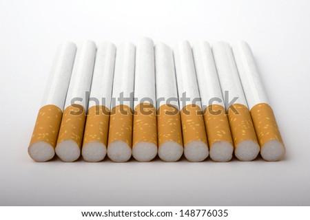 Cigarettes on white background, Studio shot.