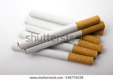 Cigarettes on white background, Studio shot.