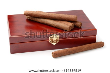 Cigars and humidor isolated on white