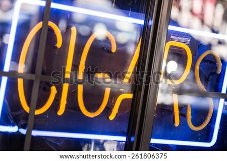 Cigars Store Display Advertising Neon Sign Closeup.