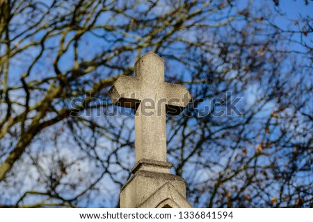 Cimetiere du Pere Lachaise typical french cemetery, Photo image a Beautiful panoramic view of Paris Metropolitan City #1336841594