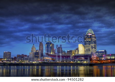 CINCINNATI – JANUARY 16: The skyline of Cincinnati, Ohio at night, January 16, 2012. Cincinnati is the third largest city in Ohio with a population of 296,943.