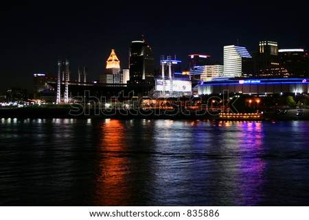 Cincinnati Skyline from Newport on the Levee - stock photo