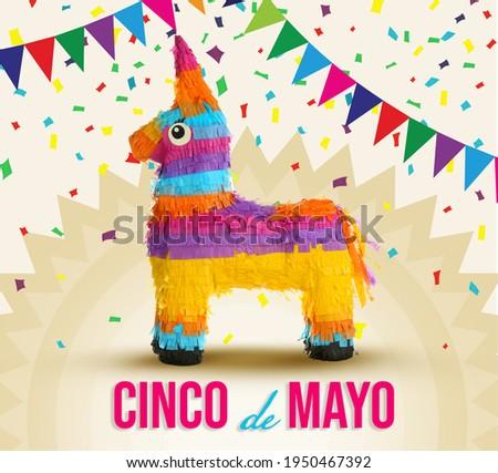 Cinco de Mayo festive poster. Bright funny pinata on color background Foto stock ©