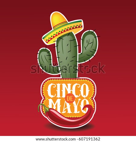 Shutterstock Cinco De Mayo sombrero, chili pepper, cactus and maracas festive design. For celebration of the Mexican holiday on May 5.