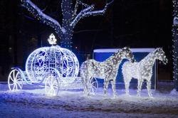 Cinderella's horse carriage, a festive park decoration