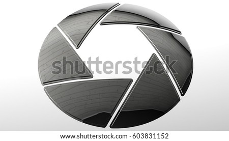 Cinema camera iris sign. Photography lens symbol, 3d rendering