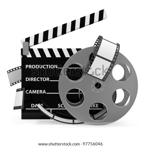 Cinema Clap and Film Roll isolated on white background