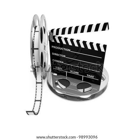Cinema Clap and Film Rolls isolated on white background