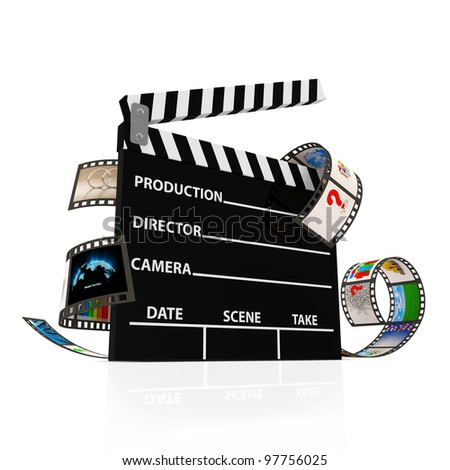 Cinema Clap with Film Strip isolated on white background