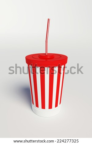 Cinema cola cup with stripes and straw,on white background.
