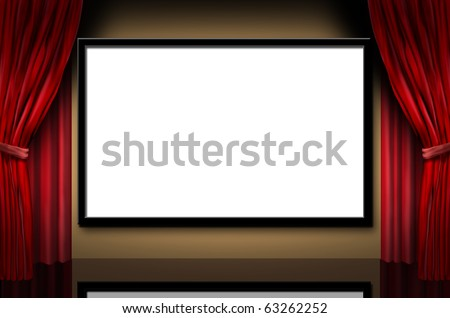 cinema display stage movies opening night theater blank white frame  screen screening blank red curtains
