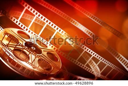 Cinema film reel (red colors)