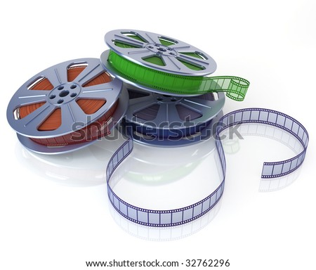 Cinema film reels. 3D rendering of a three multicolored film reels with raytraced materials and reflective background.