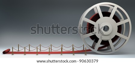 Cinema film roll and red carpet. 3d illustration. high resolution