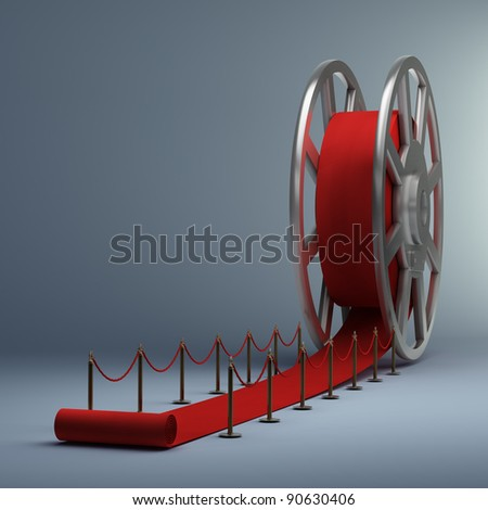 Cinema film roll and red carpet. 3d illustration. high resolution - stock photo