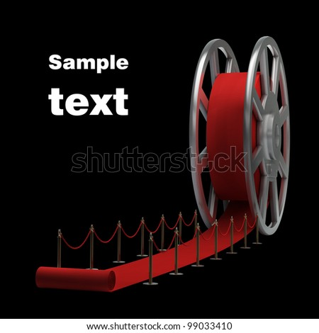 Cinema film roll and red carpet isolated. 3d illustration. high resolution