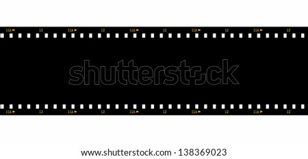 Cinema film strip black blank isolated on white background