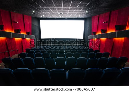 Cinema hall with a white screen