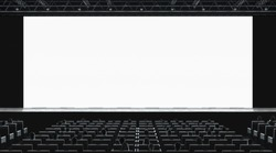 Cinema hall with auditorium watching movie on blank screen mockup. Empty monitor in film theater with viewers mock up. Premiere 3d showtime in theatre presentation template.