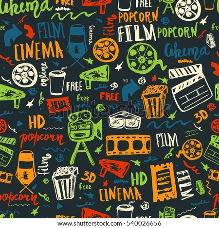 Cinema hand drawn seamless pattern with lettering on dark. Movie making film symbols collection. Cinematography design items: camera, film tape, popcorn, chair, stars