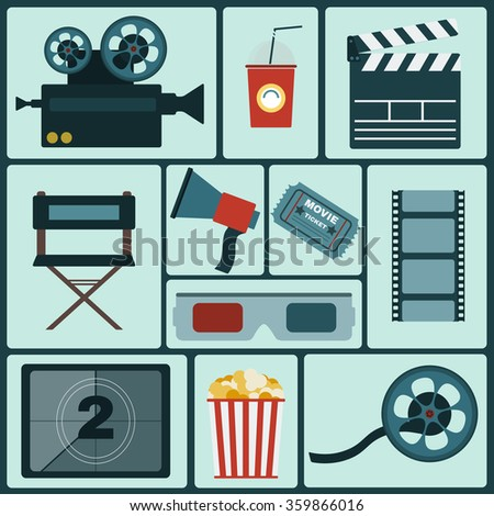 Cinema icon set. Making Movie. Camera, Movie Ticket, Clapper board, Director's Seat, Loudhailer, Cocktail glass with tube, Film reel, 3D Glasses, Countdown screen, Popcorn. Raster illustration.