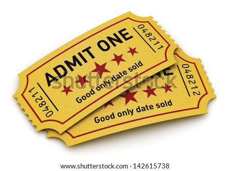 Cinema industry entertainment, film production and movie premiere concept: group of yellow tear-off tickets with Admit One text isolated on white background