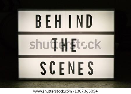 Cinema light box in dark tone film content. #1307365054