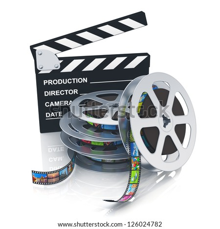 Cinema, movie, film and video media industry concept: clapper board and stack of metal film reels with filmstrips with colorful pictures isolated on white background with reflection effect