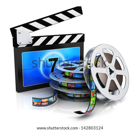 Cinema, movie, film and video media industry production concept: clapper board, metal film reel with filmstrip with colorful pictures isolated on white background with reflection effect